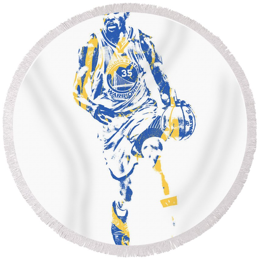 Kevin Durant Round Beach Towel featuring the mixed media Kevin Durant Golden State Warriors Pixel Art 51 by Joe Hamilton