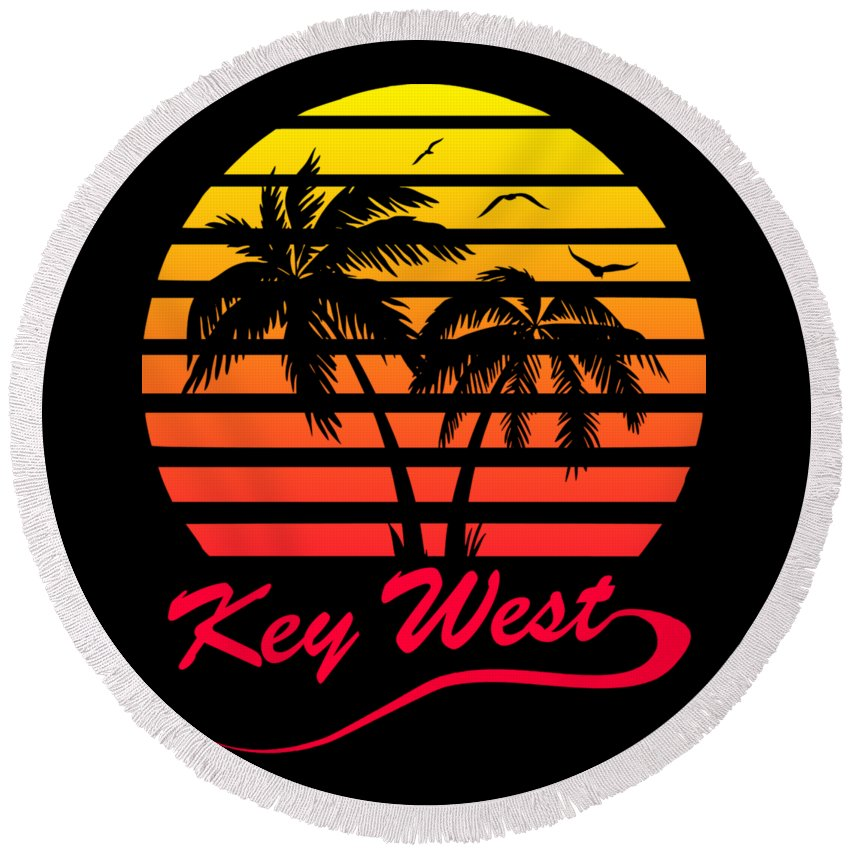 Key Round Beach Towel featuring the digital art Key West by Filip Schpindel