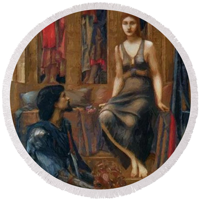 King Round Beach Towel featuring the painting King Cophetua And The Beggar Maid 1884 by BurneJones Edward