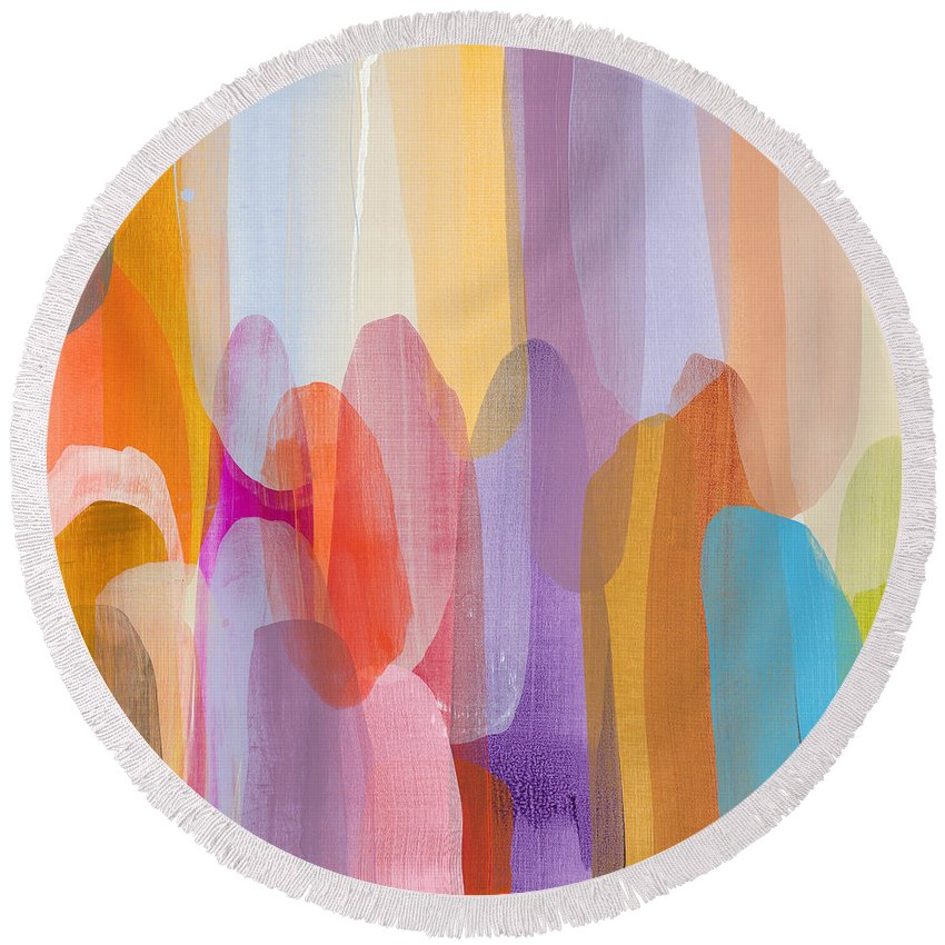 Abstract Round Beach Towel featuring the painting Kinship by Claire Desjardins