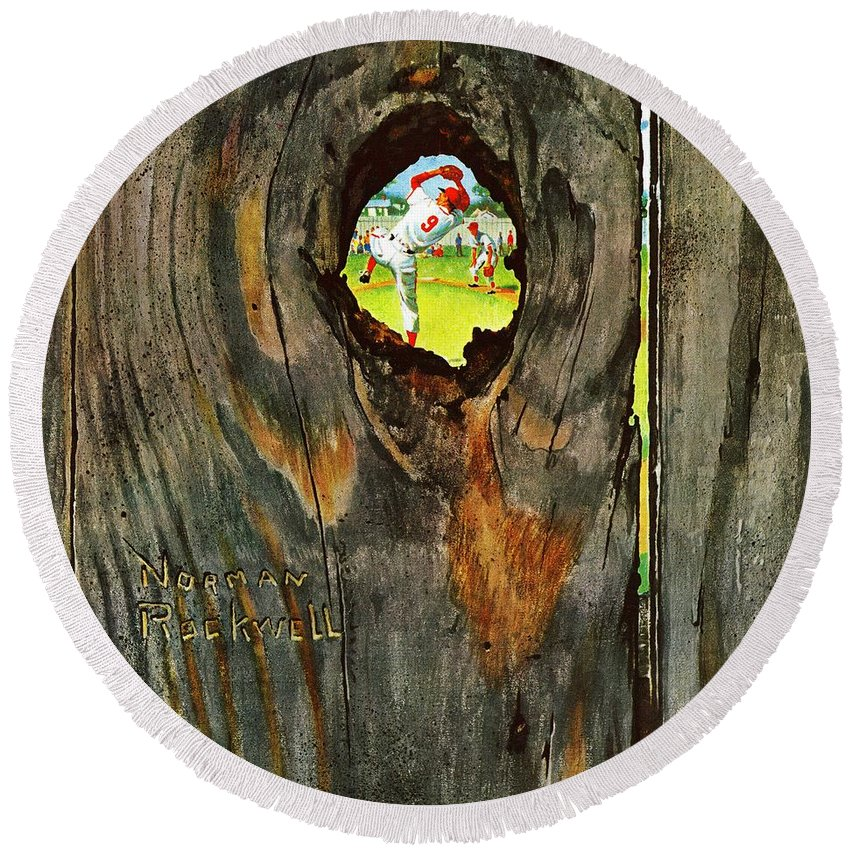 Baseball Round Beach Towel featuring the drawing Knothole Baseball by Norman Rockwell