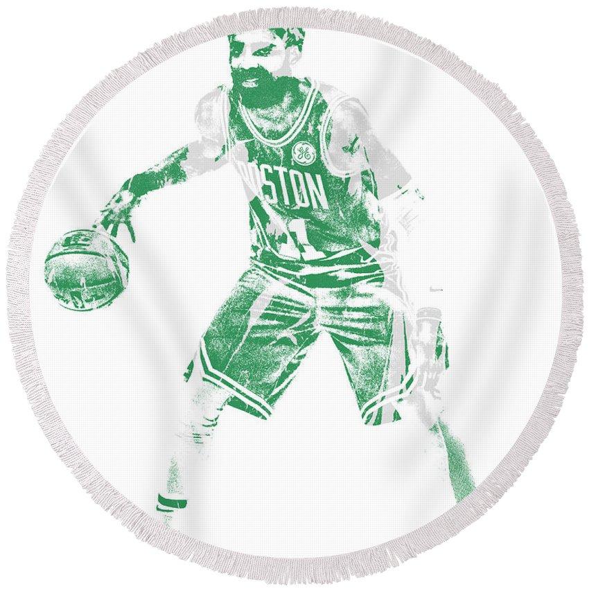 Kyrie Irving Round Beach Towel featuring the mixed media Kyrie Irving Boston Celtics Pixel Art 72 by Joe Hamilton