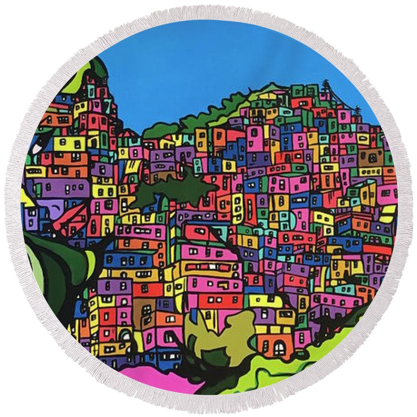 Favela Round Beach Towel featuring the painting La Victoria by Miguel Molina