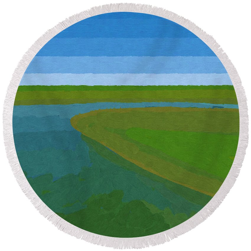 Pflugerville Round Beach Towel featuring the painting Lake Pflugerville Abstract Landscape by D Tao