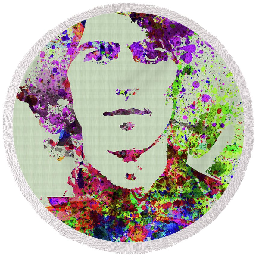 Beatles Round Beach Towel featuring the mixed media Legendary George Harrison Watercolor II by Naxart Studio