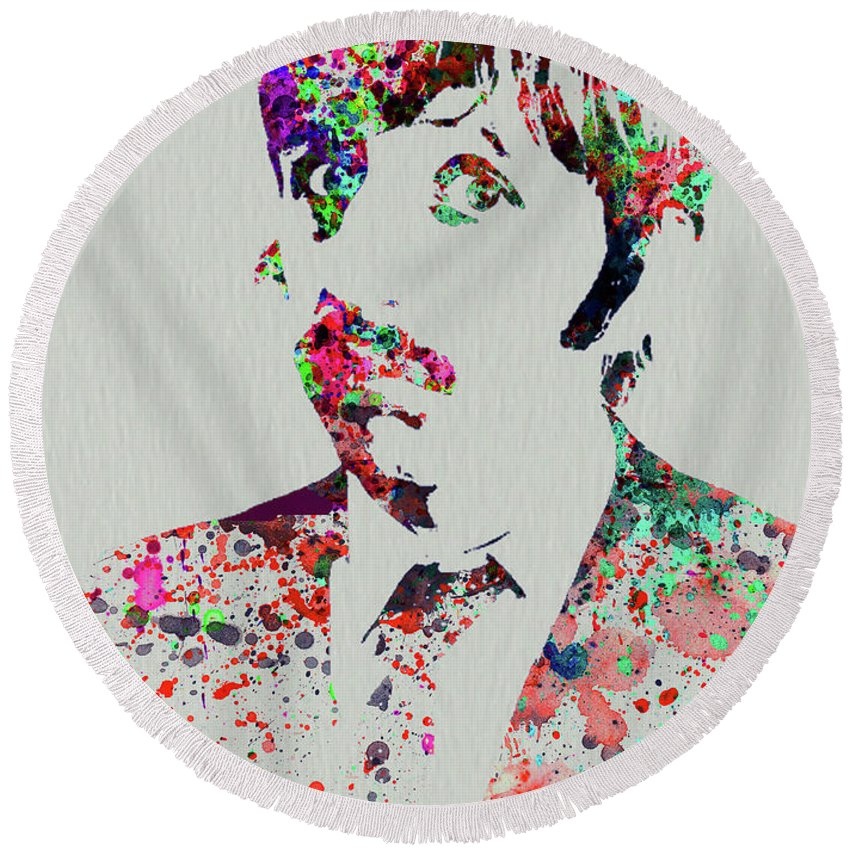 Beatles Round Beach Towel featuring the mixed media Legendary George Harrison Watercolor III by Naxart Studio