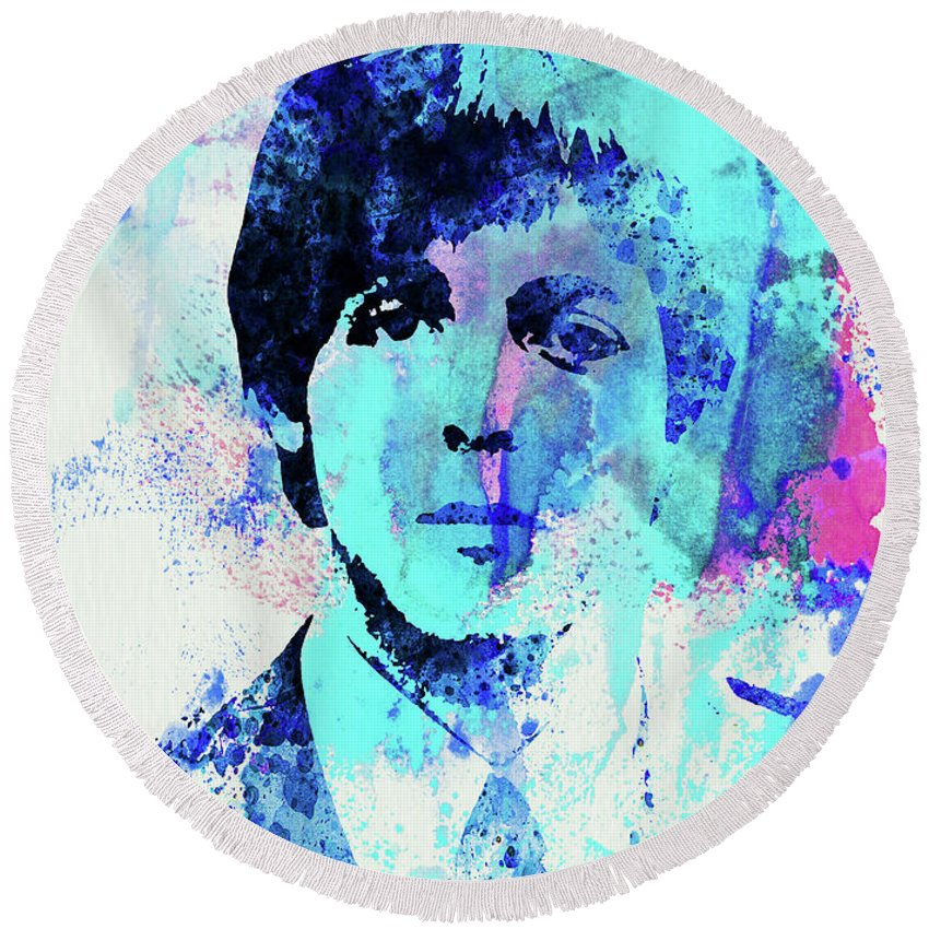 Beatles Round Beach Towel featuring the mixed media Legendary Paul Watercolor by Naxart Studio