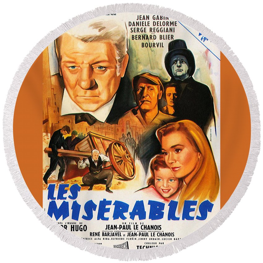 Les Miserables Round Beach Towel featuring the mixed media Les Miserables 1958 French Movie Classic by Zal Latzkovich