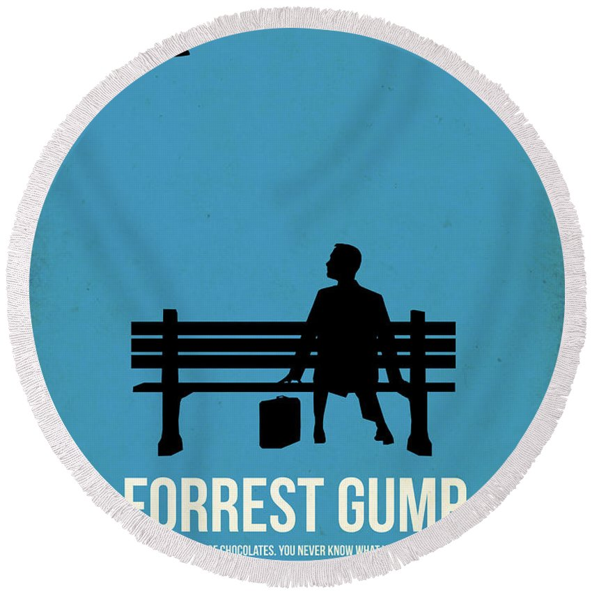 Forest Gump Round Beach Towel featuring the digital art Life Is Like A Box Of Chocolates I by Naxart Studio