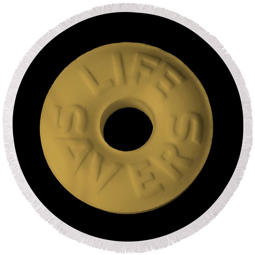 Life Saver Round Beach Towel featuring the photograph Life Savers Butterscotch by Rob Hans
