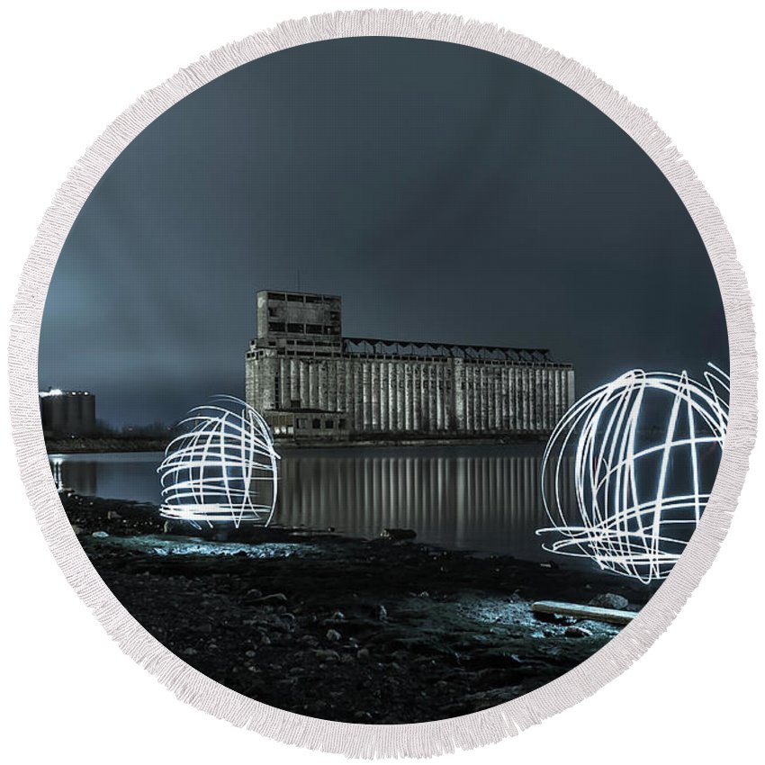 Galagher Pier Round Beach Towel featuring the photograph Lights in the Night by Dave Niedbala