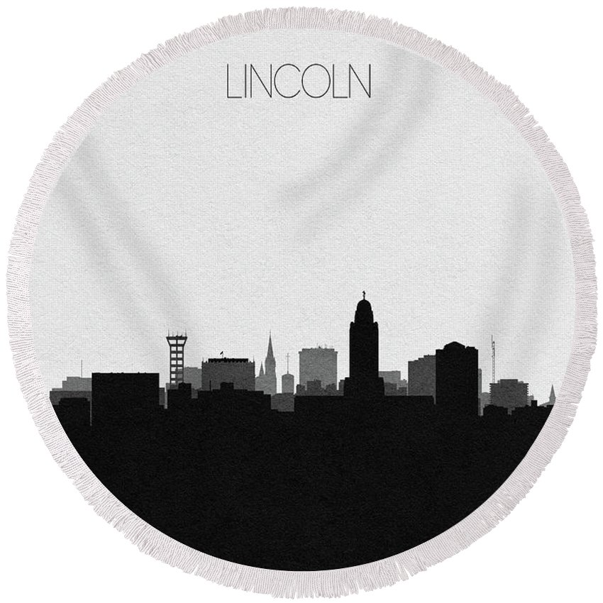 Lincoln Round Beach Towel featuring the digital art Lincoln Cityscape Art by Inspirowl Design