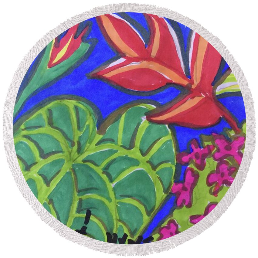 Heliconia Round Beach Towel featuring the painting Lobster Claw by Charme Curtin