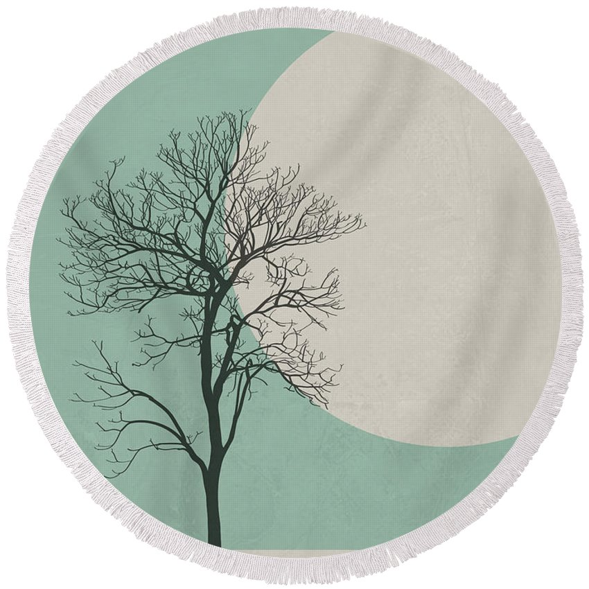 Botanical Round Beach Towel featuring the digital art Lonely Tree by Naxart Studio
