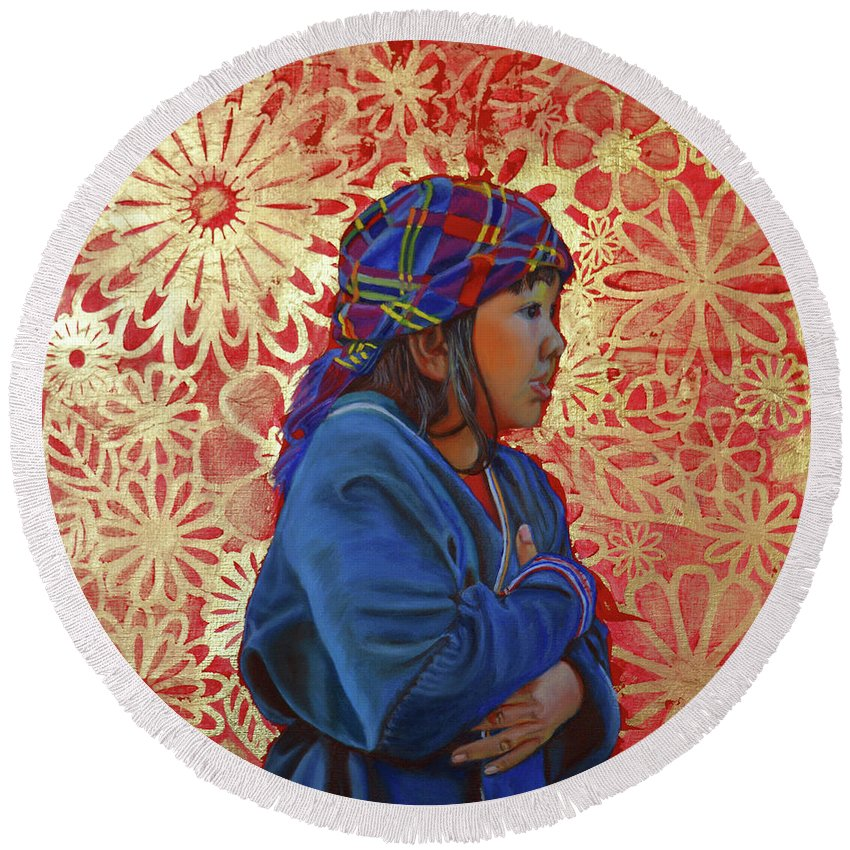 Original Painting Round Beach Towel featuring the painting Lost In Flowers by Thu Nguyen