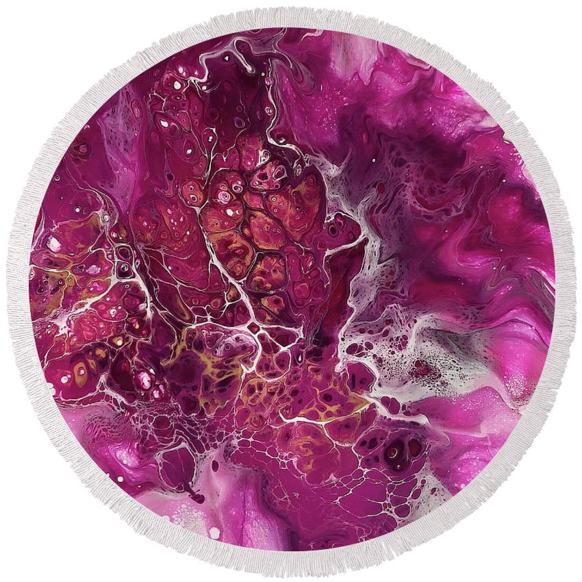 Acrylic Round Beach Towel featuring the painting Magenta Magic By Teresa Wilson by Teresa Wilson