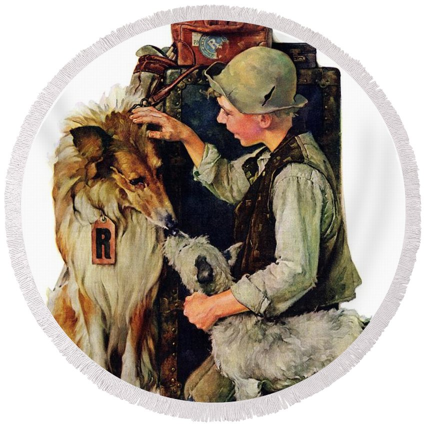 Boy Round Beach Towel featuring the drawing Making Friends by Norman Rockwell