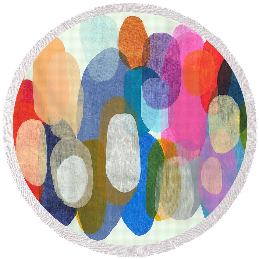 Abstract Round Beach Towel featuring the painting Making Origami by Claire Desjardins