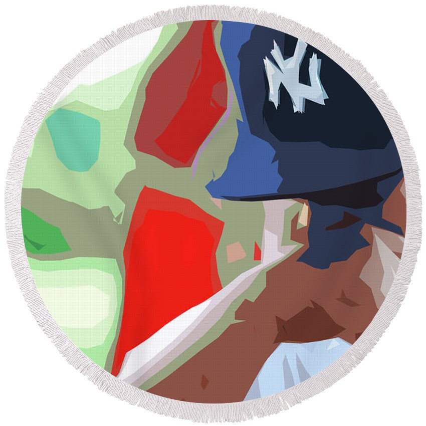 Sports Round Beach Towel featuring the digital art Man With Yankees Cap by NAJE Foto - Nelly Rodriguez