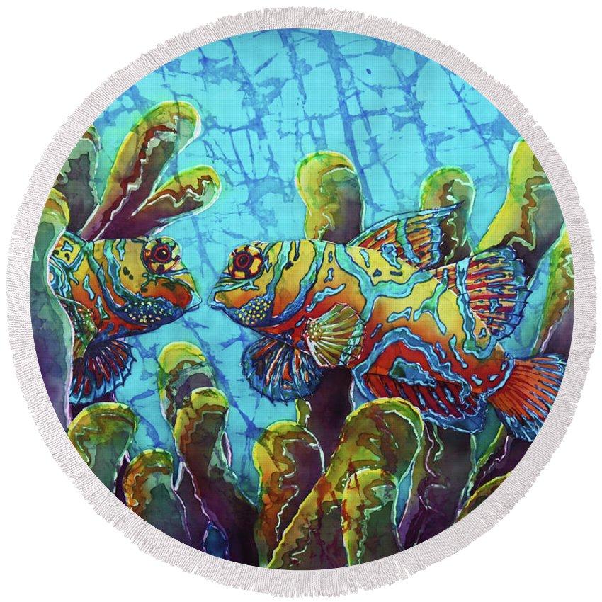 Mandarinfish Round Beach Towel featuring the painting Mandarinfish by Sue Duda