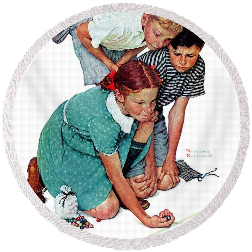 Boys Round Beach Towel featuring the drawing Marbles Champ by Norman Rockwell