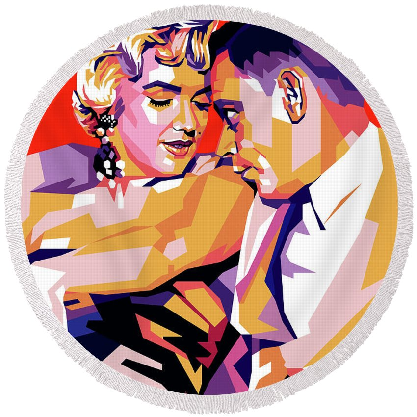 Marilyn Round Beach Towel featuring the digital art Marilyn Monroe and Tom Ewell by Stars on Art
