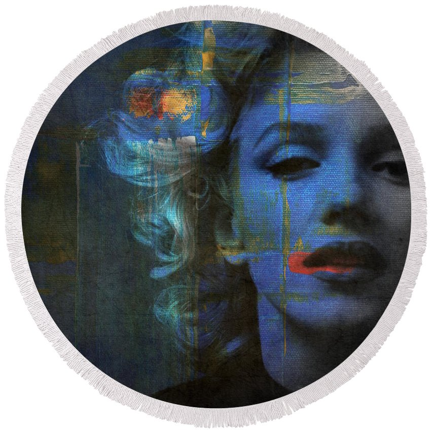Monroe Round Beach Towel featuring the mixed media Marilyn Monroe - Retro by Paul Lovering