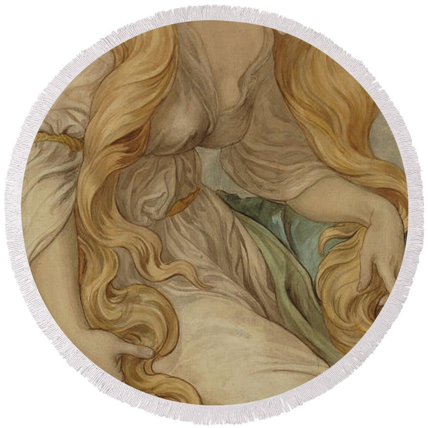Mary Magdalene Round Beach Towel featuring the painting Mary Magdalene, 1879 by Frederic James Shields