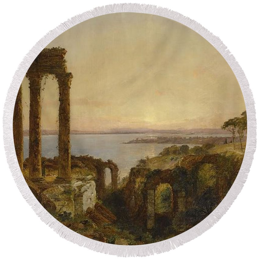 Jasper Francis Cropsey Round Beach Towel featuring the painting Mediterranean Ruins by Jasper Francis Cropsey