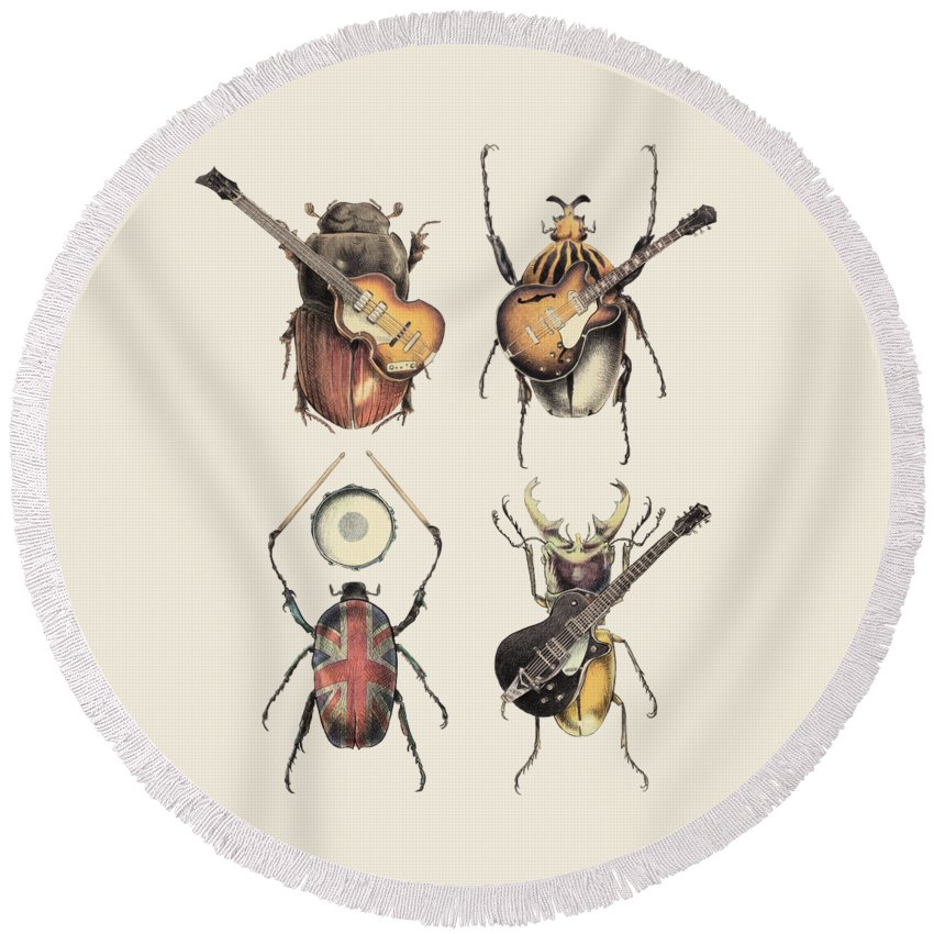 Beatles Round Beach Towel featuring the digital art Meet the Beetles by Eric Fan