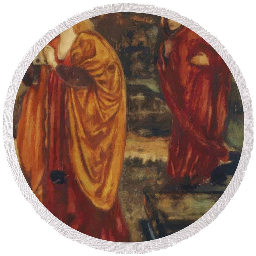 Merlin Round Beach Towel featuring the painting Merlin And Nimue 1861 by BurneJones Edward