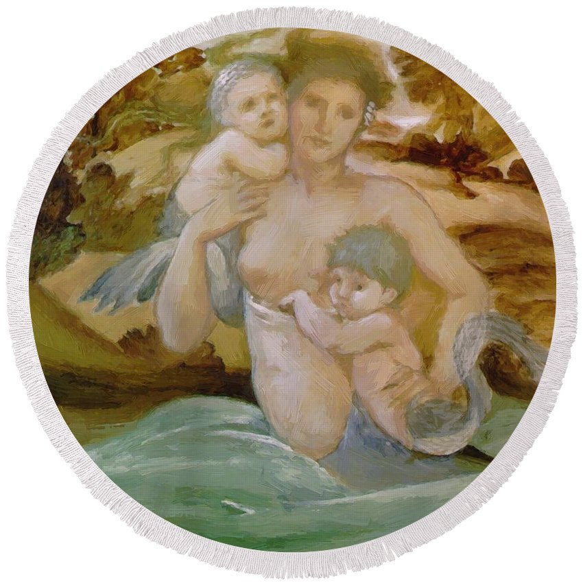 Mermaid Round Beach Towel featuring the painting Mermaid With Her Offspring by BurneJones Edward