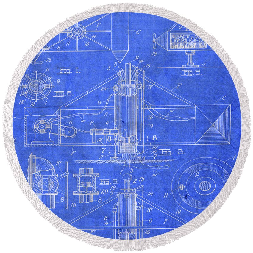 Merry Go Round Round Beach Towel featuring the mixed media Merry Go Round Amusement Carousel Vintage Patent Blueprint by Design Turnpike