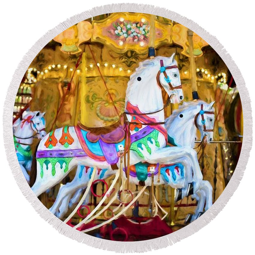 Merry-go-round Round Beach Towel featuring the painting Merry-go-round by ArtMarketJapan