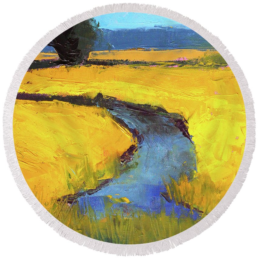 Yellow Landscape Round Beach Towel featuring the painting Mid July by Nancy Merkle