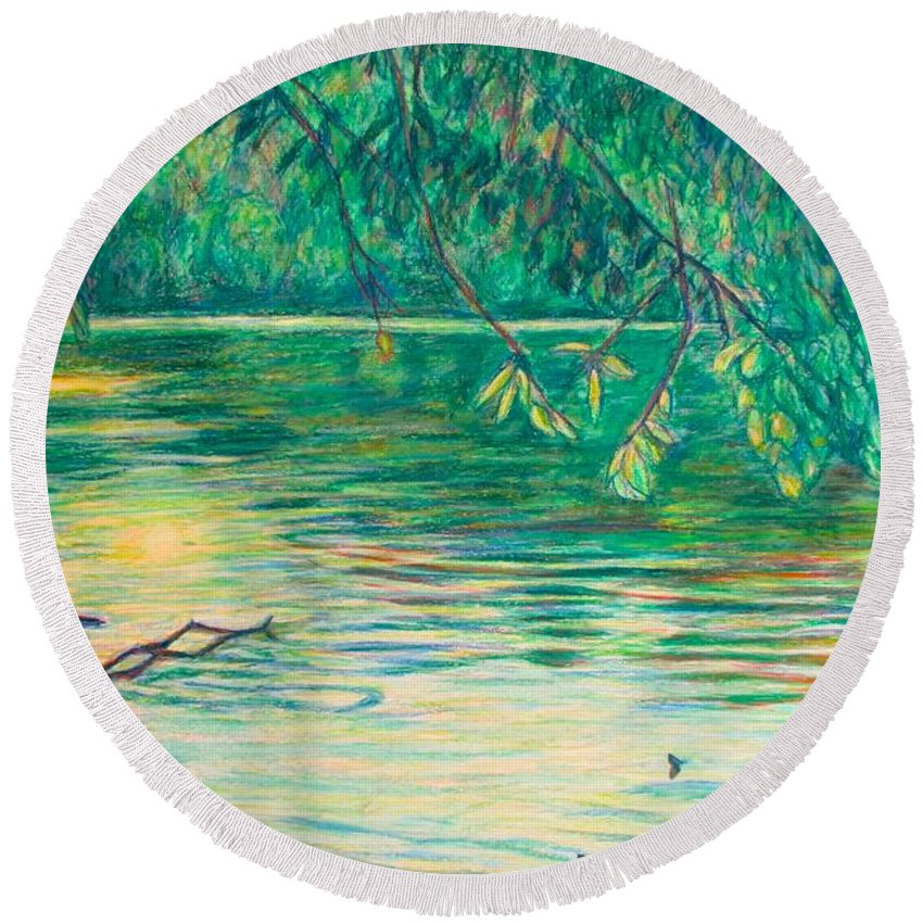 Landscape Round Beach Towel featuring the painting Mid-Spring on the New River by Kendall Kessler