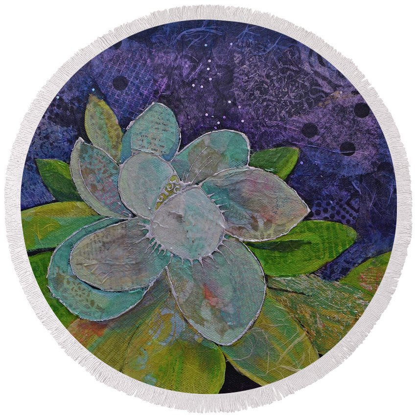 Magnolia Round Beach Towel featuring the painting Midnight Magnolia I by Shadia Derbyshire