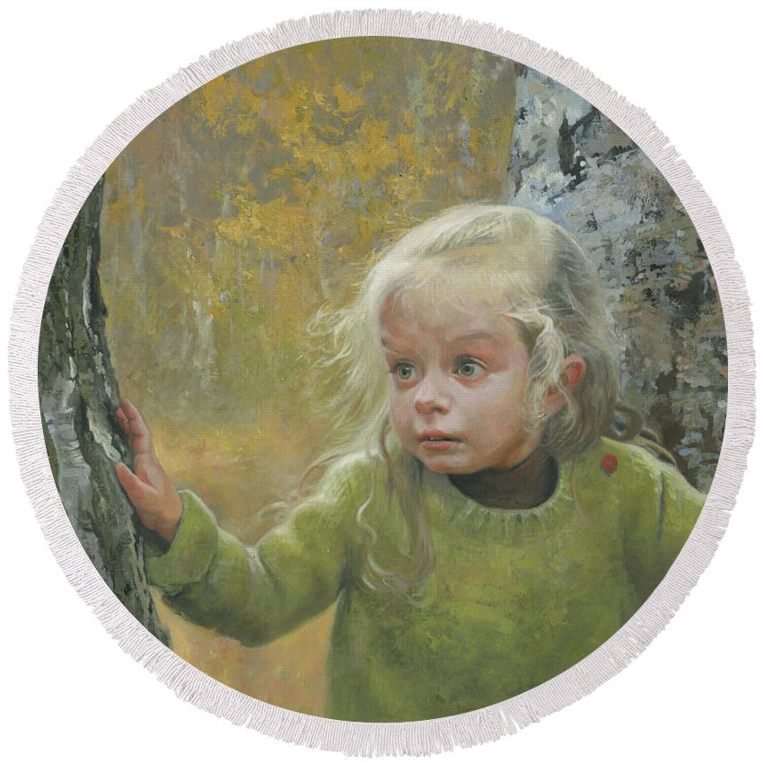 Girl Round Beach Towel featuring the painting Mila Between Two Birches by Denis Chernov