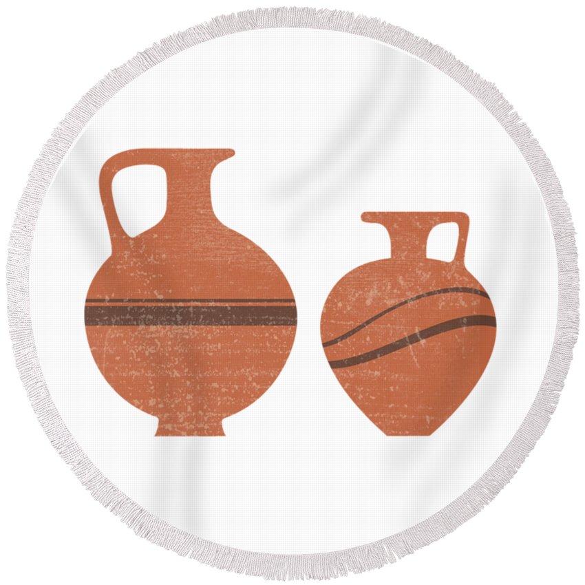 Abstract Round Beach Towel featuring the mixed media Minimal Abstract Greek Vase 20 - Oinochoe - Terracotta Series - Modern, Contemporary Print - Sienna by Studio Grafiikka