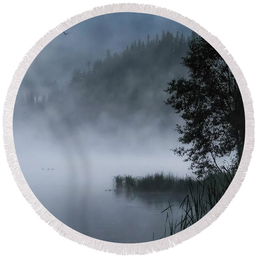 Lake Trillium Round Beach Towel featuring the photograph Mist And Silhouettes On The Lake by Belinda Greb
