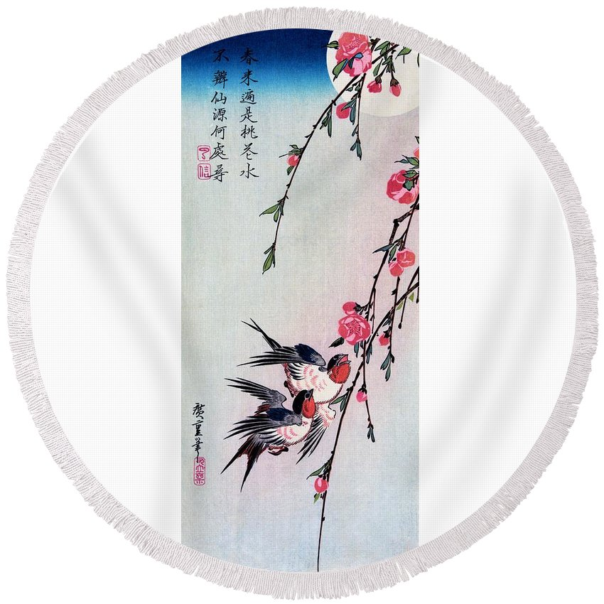 Utagawa Hiroshige Round Beach Towel featuring the painting Moon, Swallows, And Peach Blossoms by Utagawa Hiroshige