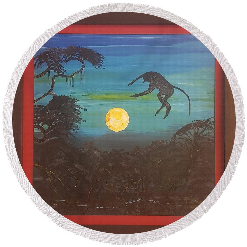 Moonlight Baboon Round Beach Towel featuring the photograph Moonlight Baboon by Quintus Curtius