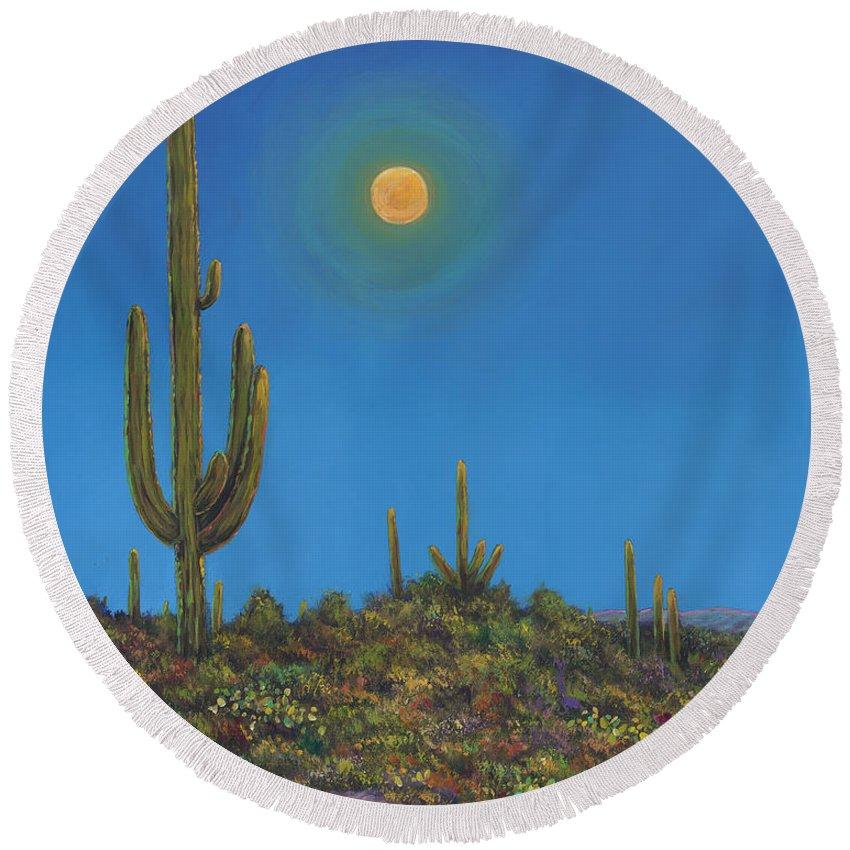Arizona Round Beach Towel featuring the painting Moonlight Serenade by Johnathan Harris