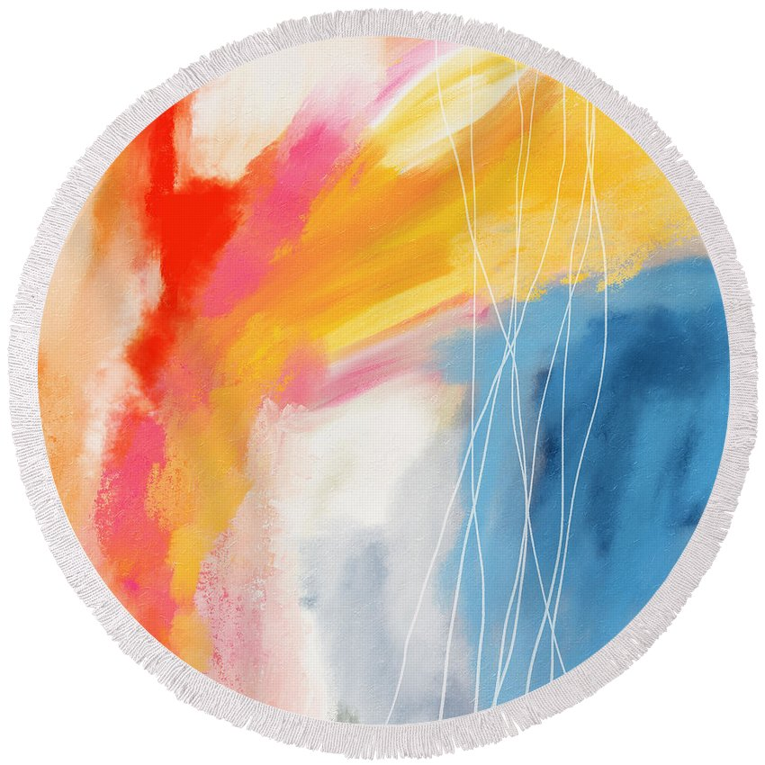 Abstract Round Beach Towel featuring the mixed media Morning 2- Art by Linda Woods by Linda Woods