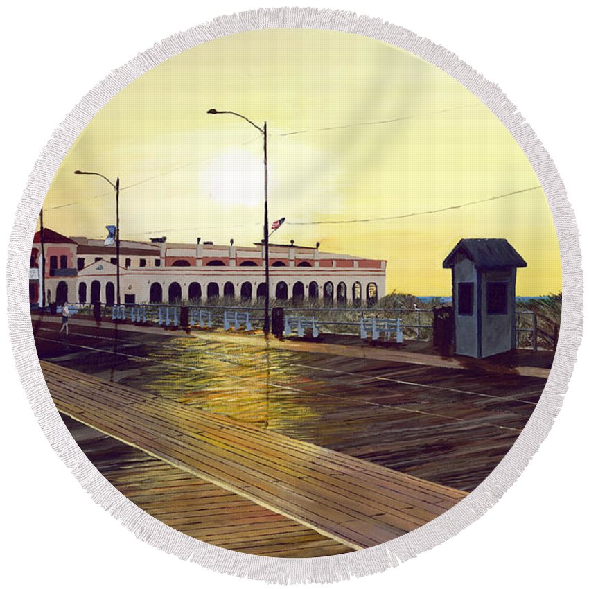 Ocean City Music Pier; Sunrise Round Beach Towel featuring the painting Morning Music by Rick Lang
