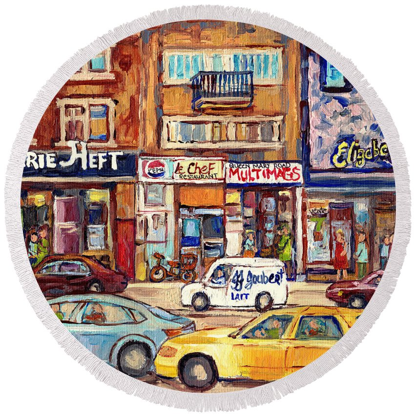 Montreal Round Beach Towel featuring the painting Morrie Heft Elizabeth Hager Le Chef Jj Joubert On Queen Mary Rd Stores C Spandau Montreal by Carole Spandau