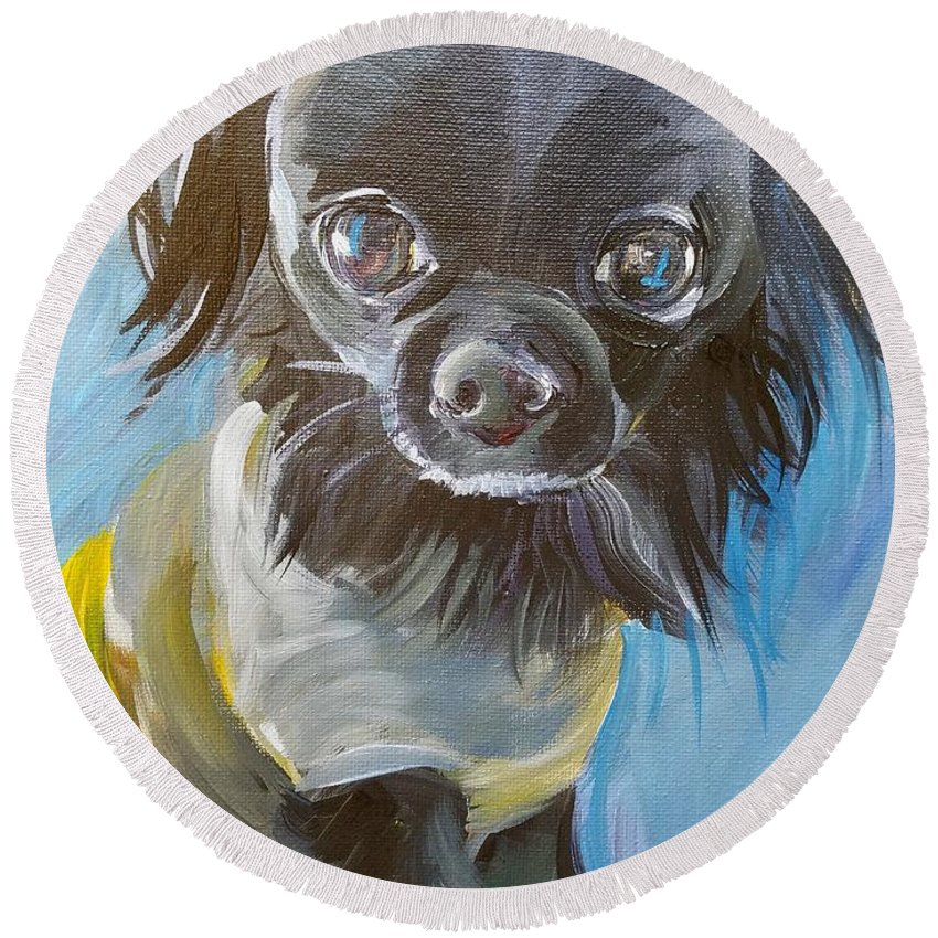 Pet Portrait Round Beach Towel featuring the painting Moser by Leah Keilman