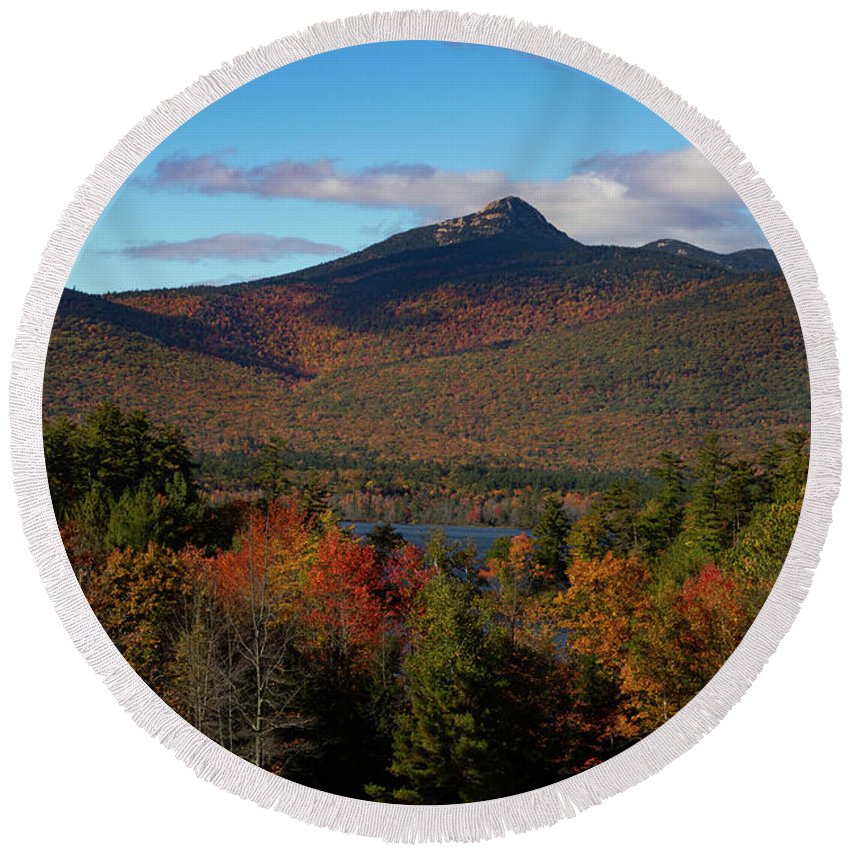 Chocorua Fall Colors Round Beach Towel featuring the photograph Mount Chocorua New Hampshire by Jeff Folger