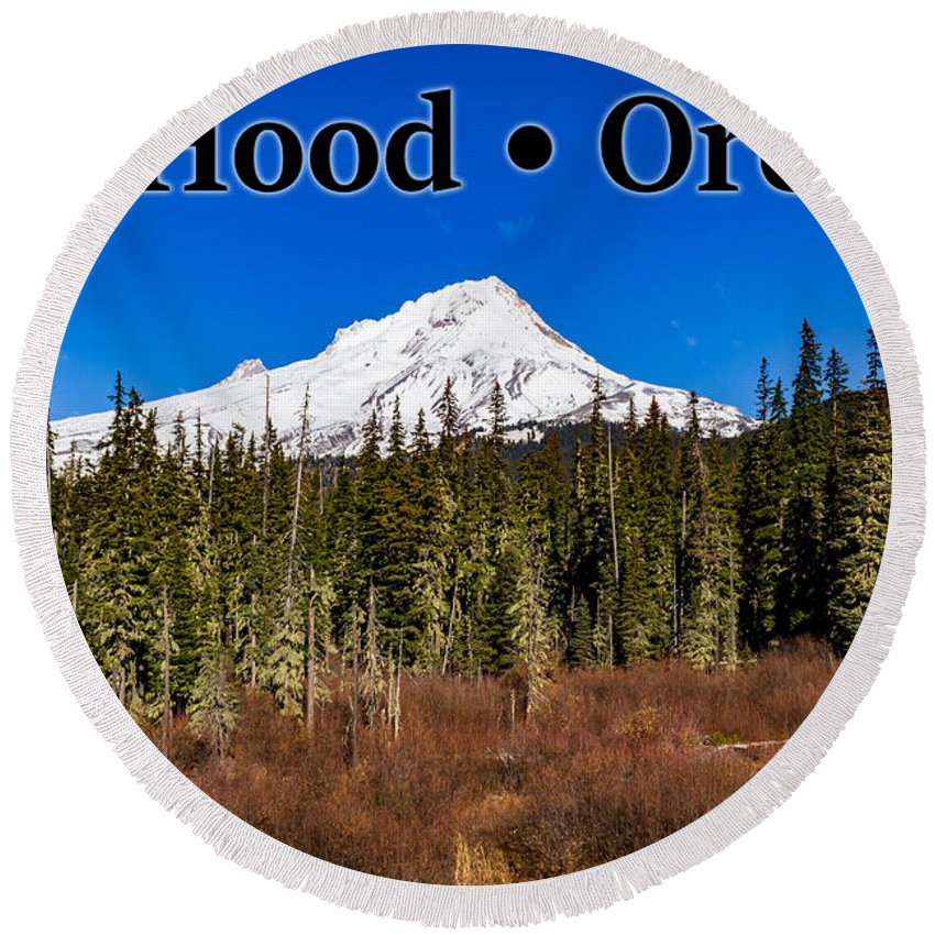 Mount Hood Round Beach Towel featuring the photograph Mount Hood Oregon In Winter 01 by G Matthew Laughton