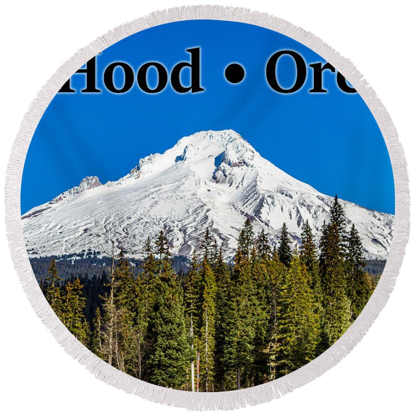 Mount Hood Round Beach Towel featuring the photograph Mount Hood Oregon In Winter 02 by G Matthew Laughton